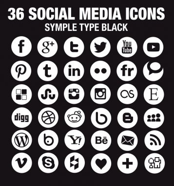 36 New Social media icons - Circle white - new version
