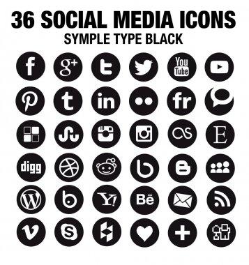 36 New Social media icons - circle black