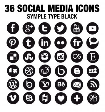 36 New Social media icons - circle black
