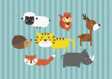 Cute Cartoon Safari Forest Animals Digital Clip Art Clipart Set - For Scrapbooking, Card Making, Invites