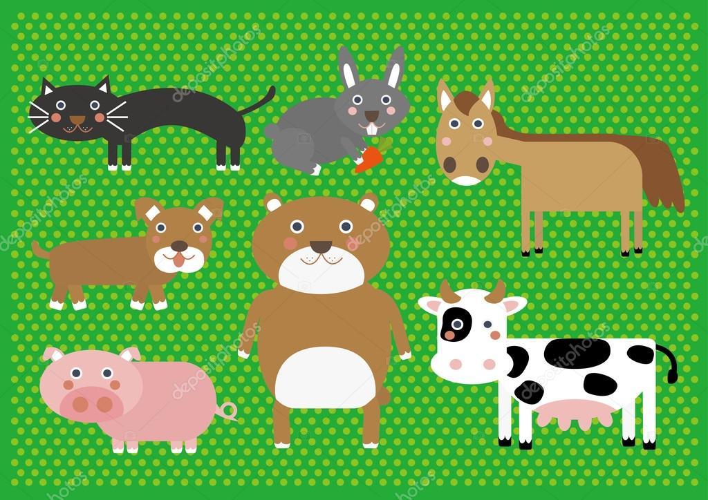 Niedliche Cartoon Bauernhof Tiere Digital Clip Art Clipart Set Für
