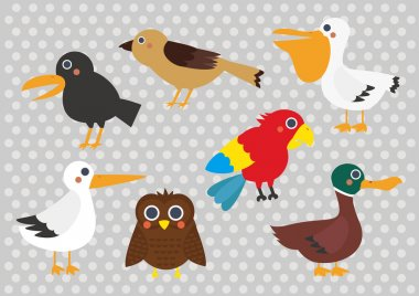 Cute Cartoon Birds Digital Clip Art Clipart Set - For Scrapbooking, Card Making, Invites