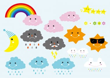 Cute Cartoon Weather Icons Digital Clip Art Set - For Scrapbooking, Card Making, Invites - Instant Download