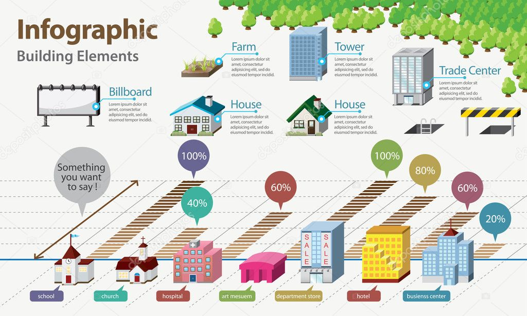 Real Estate Infographic. Building Icon