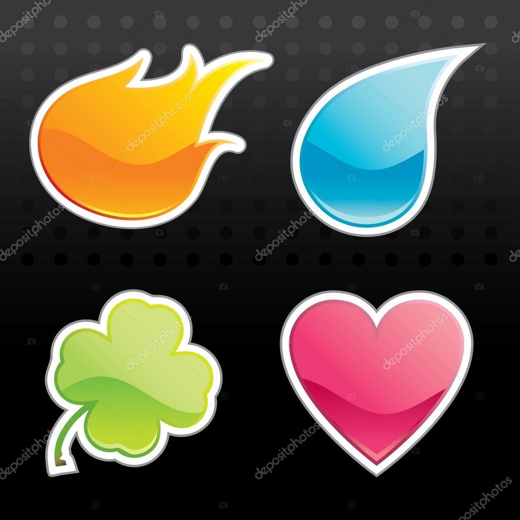 Glossy Icon (Fire, Water, Leaf, Heart)