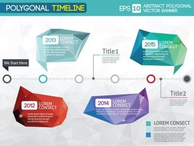 Timeline -different tooltips - polygonal illustration