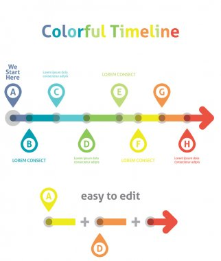 Colorful Timeline. Infographic template. Easy to Edit