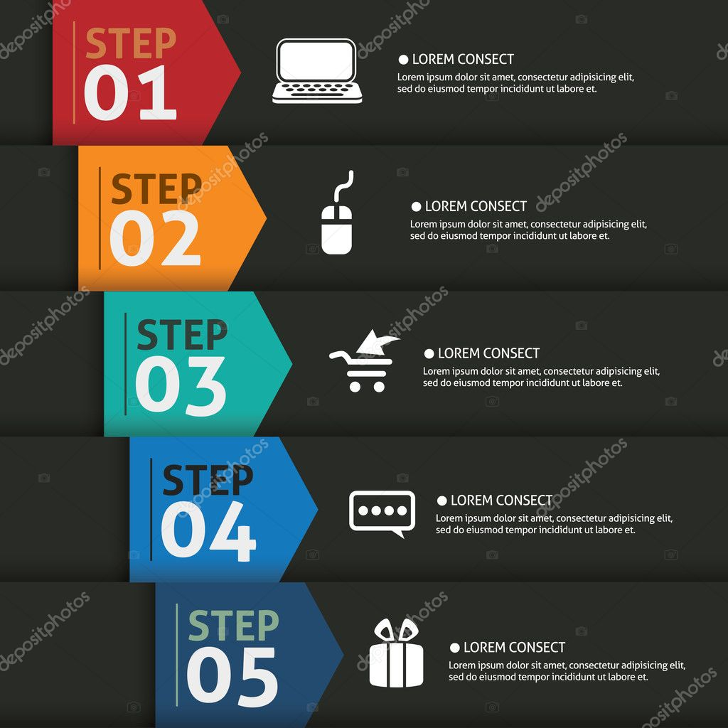 One two three four five- vector paper progress steps for tutoria
