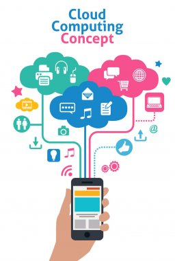 smart phones concept - cloud computing