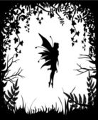 Photo Fairy silhouette on a background of nature.