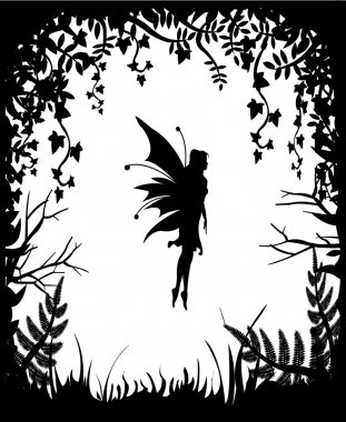 Fairy silhouette on a background of nature.