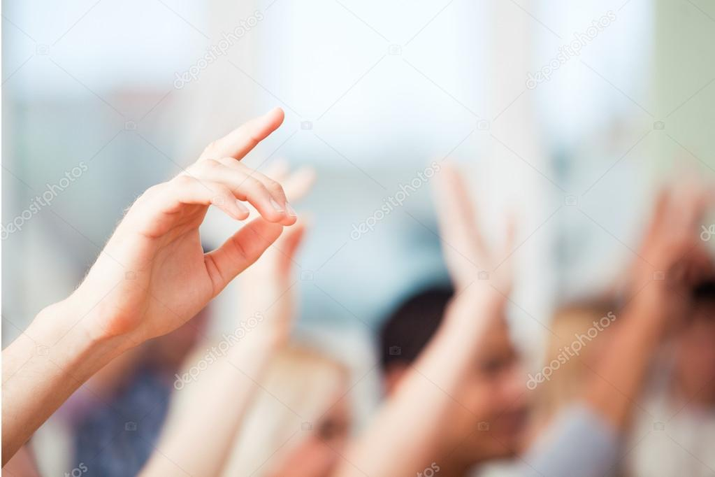 Students Raising Hands stock vector
