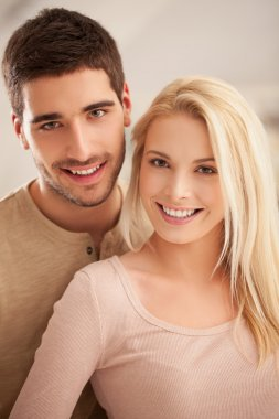 Cute Caucasian Couple Smiling