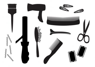 Hairdresser equipment silhouette vector