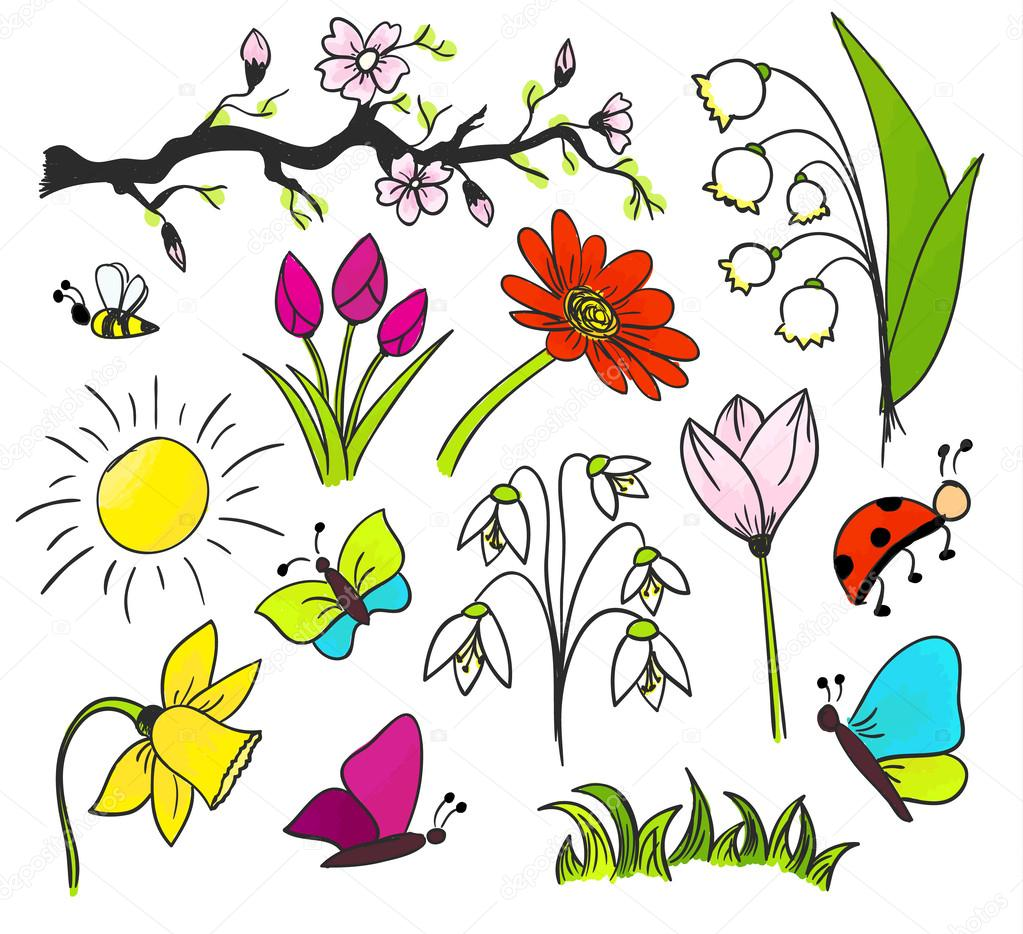 Spring Flowers Drawing Vector Colorful Isolated Stock Vector