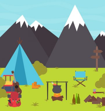 Camping and hiking scene