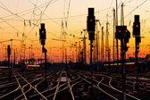 Fotografie železniční tratě při západu slunce