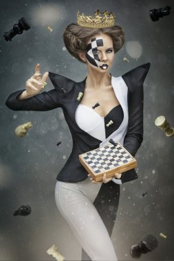 Girl in chess queen image