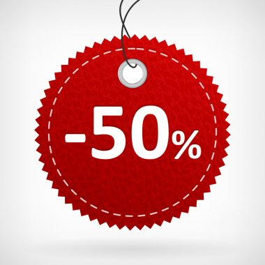 Red leather price labels -50 percent