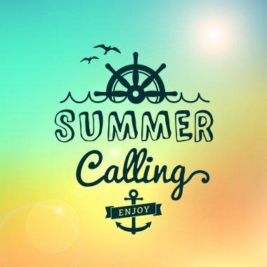 Enjoy Summer calling Sunrise hawaii vector vintage poster