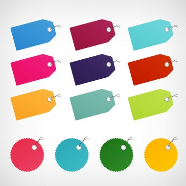 blank color price labels vector stickers