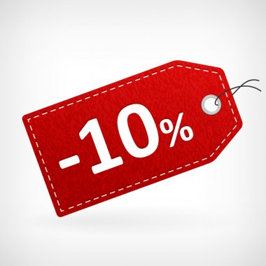 Red leather price labels ten percent saleoff