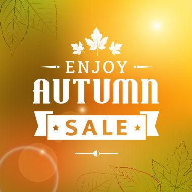 enjoy autumn sale vintage vector typography poster