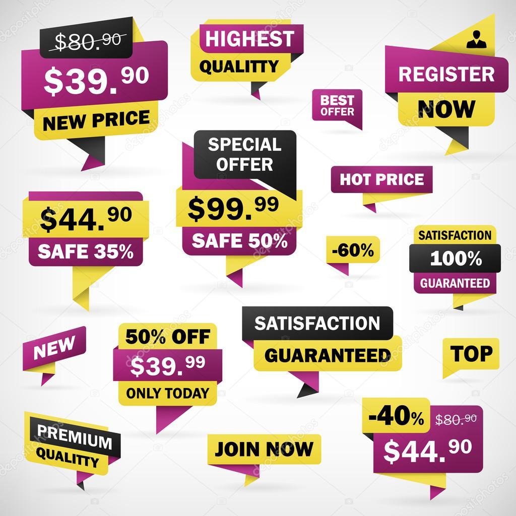Establece la etiqueta engomada del precio de oferta de negocios y banners —  Vector de stock 077a4358abd
