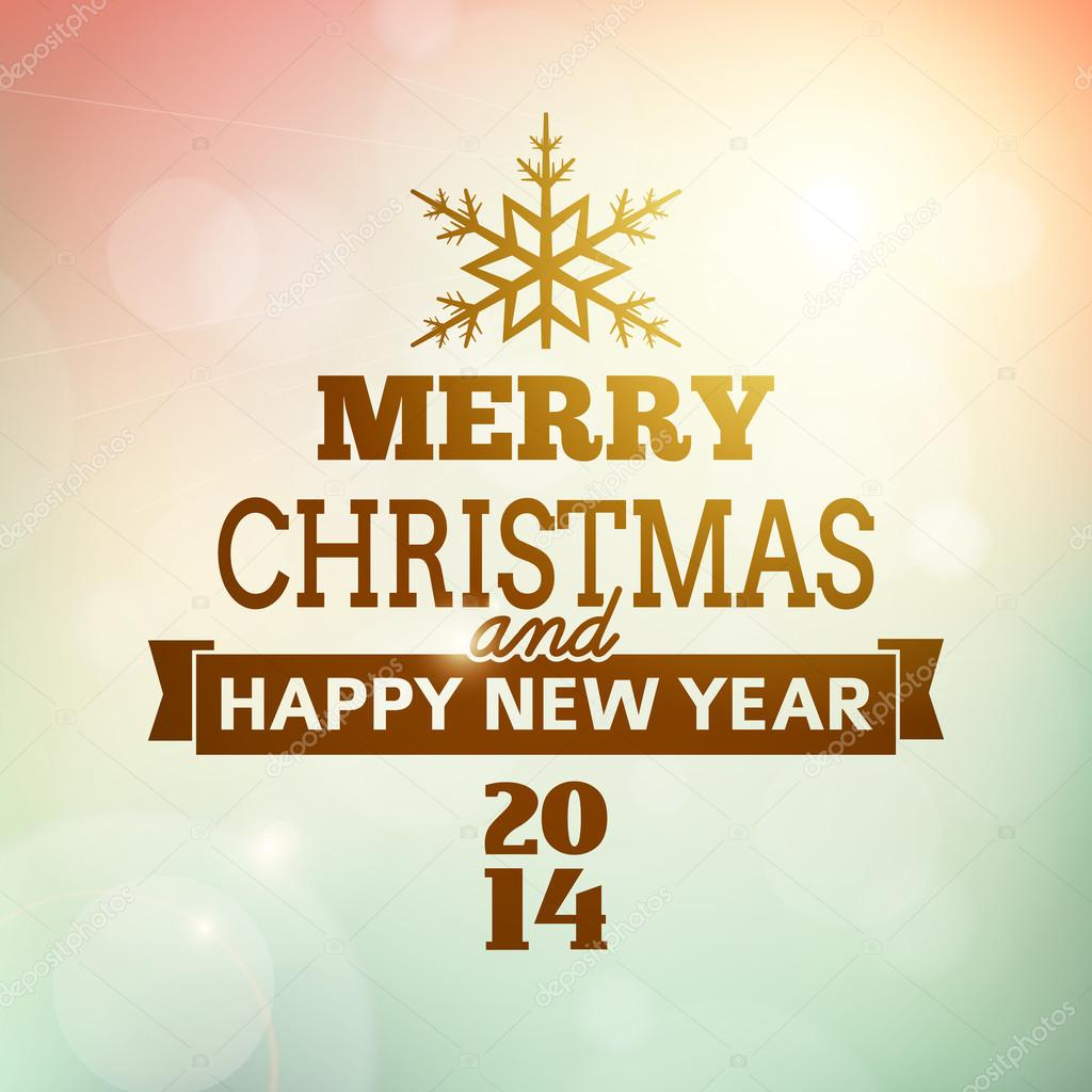 merry christmas and happy new year 2014 poster — Stock Vector ...