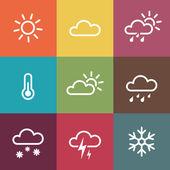 Wetter-Ikonen auf Vintage bunten Fliesen Hintergrund