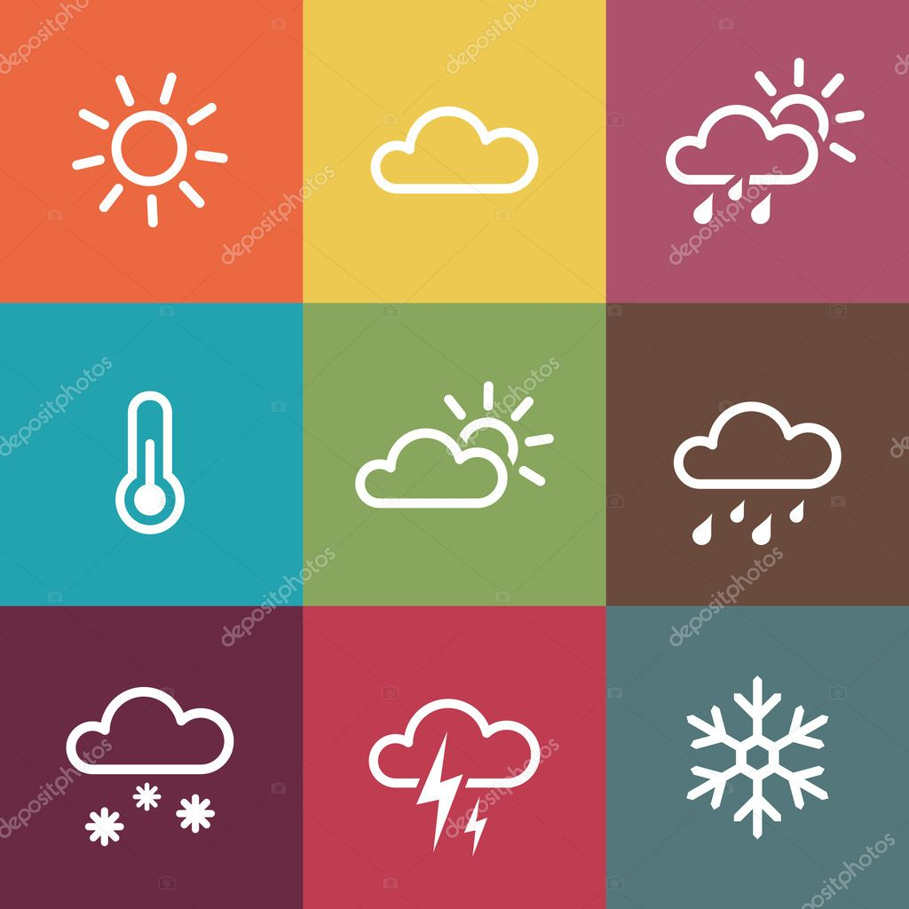 Weather Icons on vintage colorful tiles background