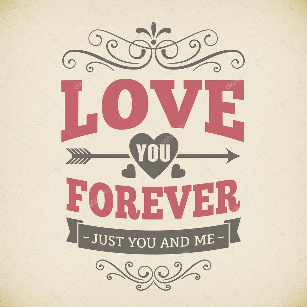 Wedding typography love you forever vintage card background poster vector design. isolated from background. clipart vector
