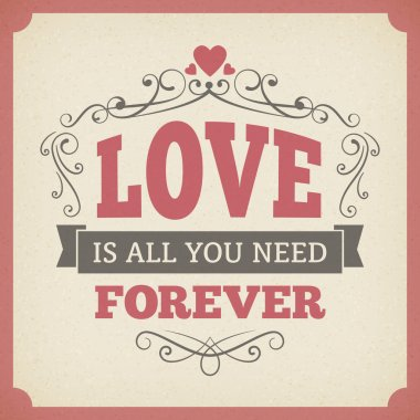 Wedding love forever typography vintage card background poster vector design. isolated from background. clip art vector