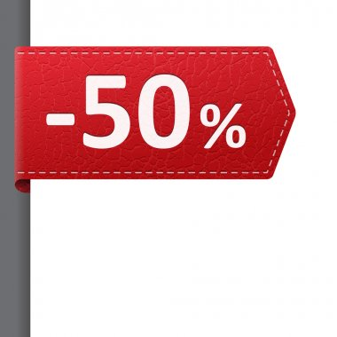 Red leather price bookmark 50 percent sale off