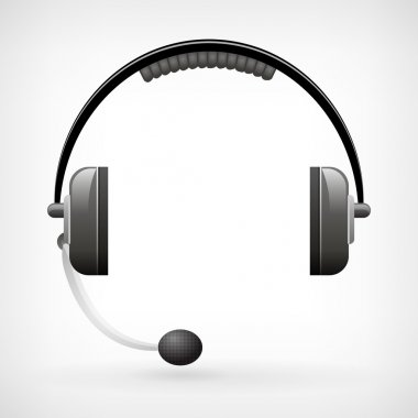 Detailed classic headphones icon with microphone
