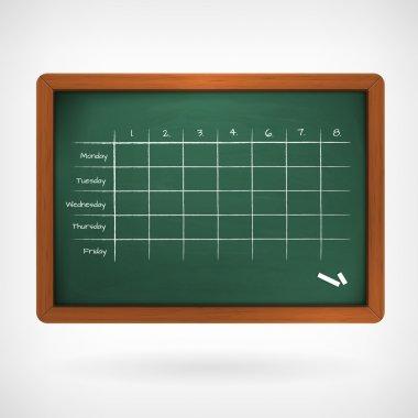 school timetable on chalkboard vector illustration
