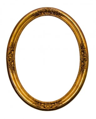 Ornamented gold plated empty picture frame Isolated on white bac
