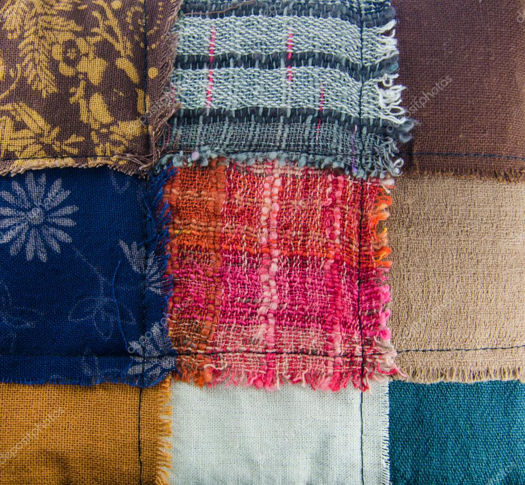 Different colorful fabrics texture Stock Photo