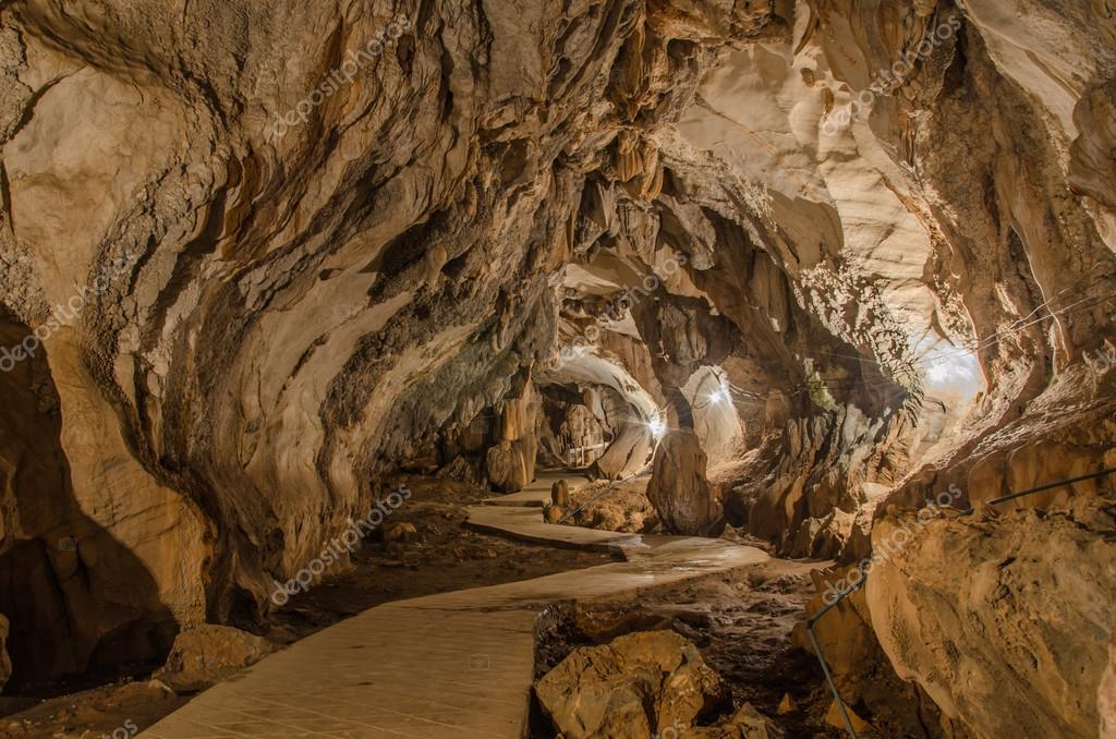 pathway underground cave in Laos, with stalagmites and stalactit