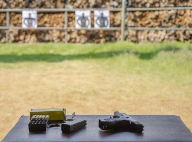 Outdoor gun shooting of target range