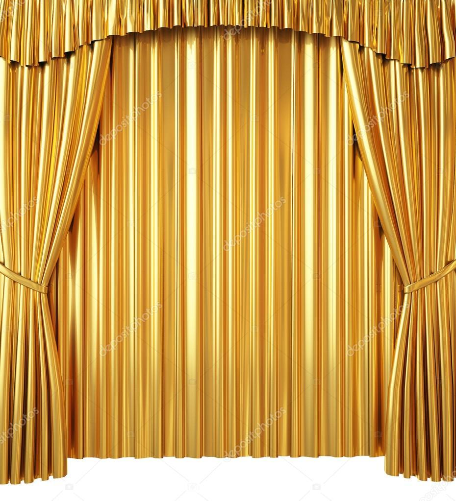 goldener vorhang isoliert auf wei em hintergrund. Black Bedroom Furniture Sets. Home Design Ideas