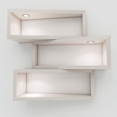 3d white shelf with lights