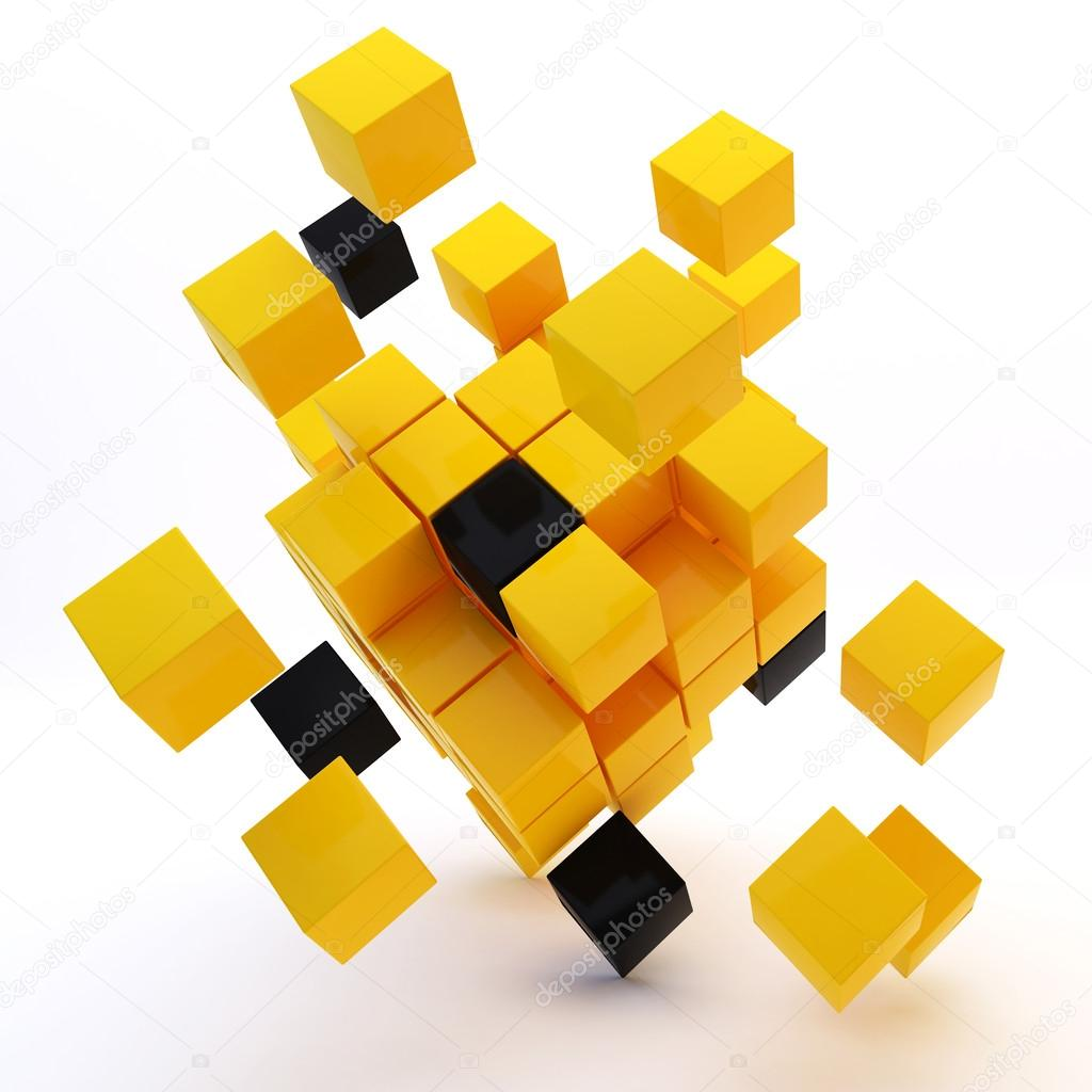 3d abstract colored cubes