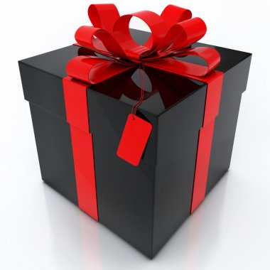 Black Gift Box with Red Ribbon on White Background