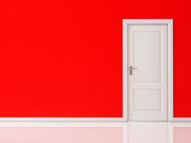 Closed White Door on Red Wall, Reflective Floor