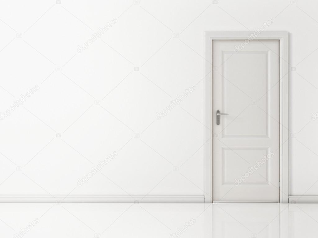 white door on white wall reflective floor stock photo 25588989