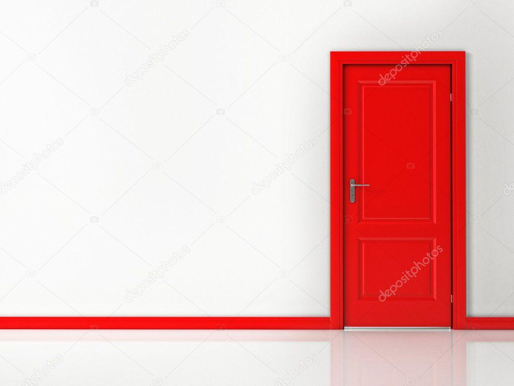 Porta vermelha na parede branca piso reflexivo stock - Piso porta 2000 ...