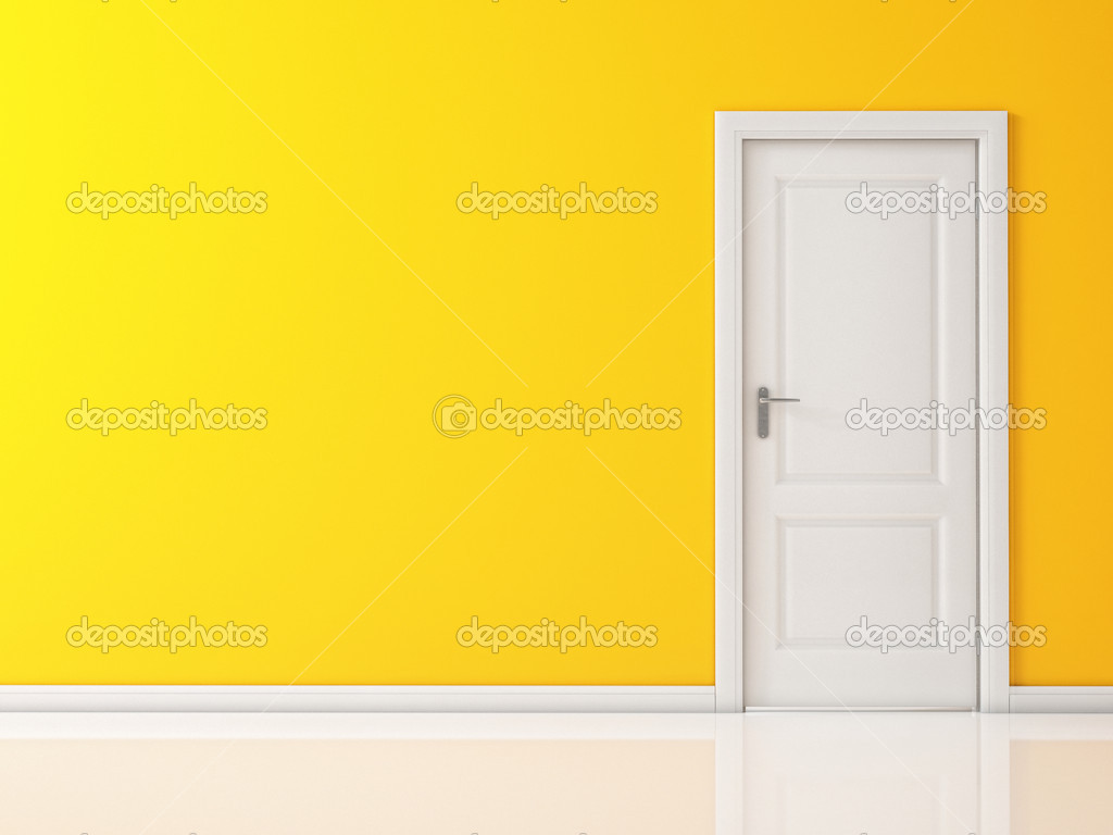 Closed White Door On Yellow Wall Reflective Floor Stock