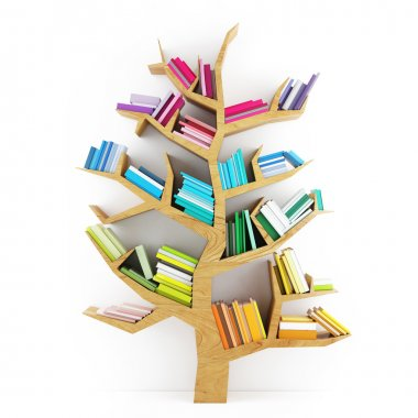 Tree of Knowledge, Wooden Shelf with Multicolor Books Isolated on White Background