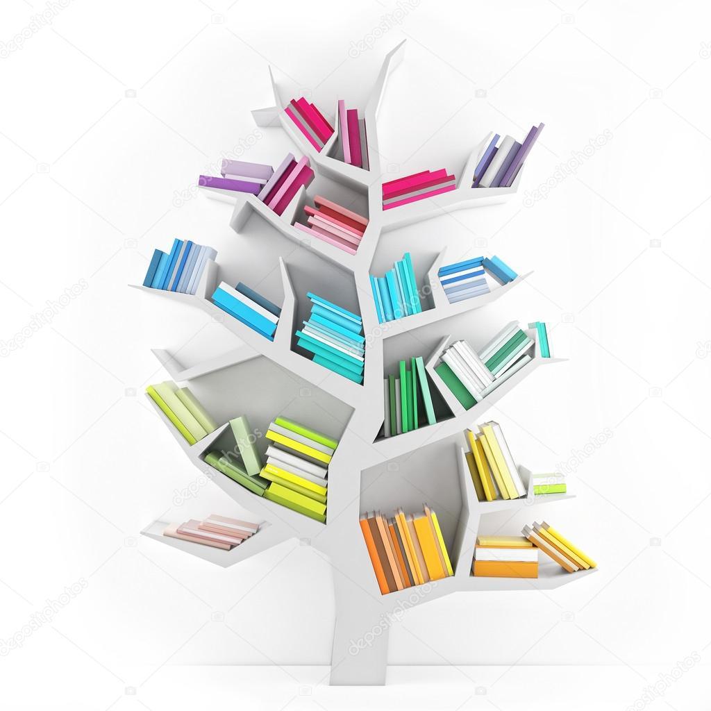 빛깔도 흰색 배경에 고립 된 지식의 나무, 흰 선반 — 스톡 사진 ...